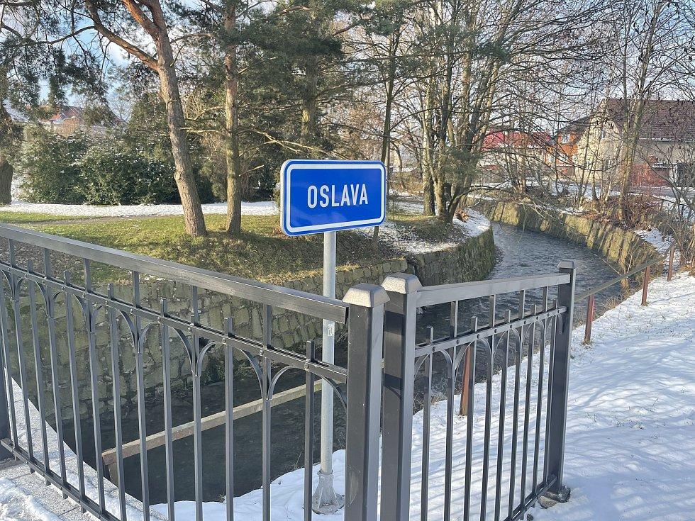 Dlouhá Loučka, řeka Oslava, leden 2021
