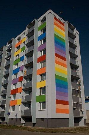 Originální fasády na panelových domech vOlomouci