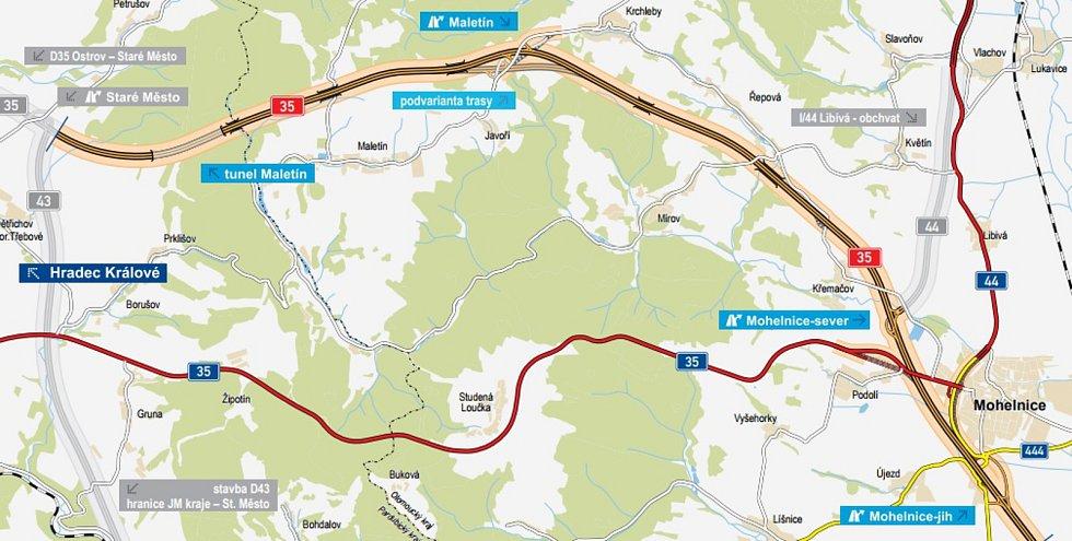 Trasa dálnice D35 mezi Mohelnicí a Moravskou Třebovou