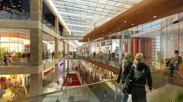 Vizualizace obchodně-zábavního centra Galerie Šantovka. Zdroj www.galeriesantovka.cz