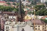 Vyhlídka na věži kostela sv. Mořice v Olomouci, červenec 2021