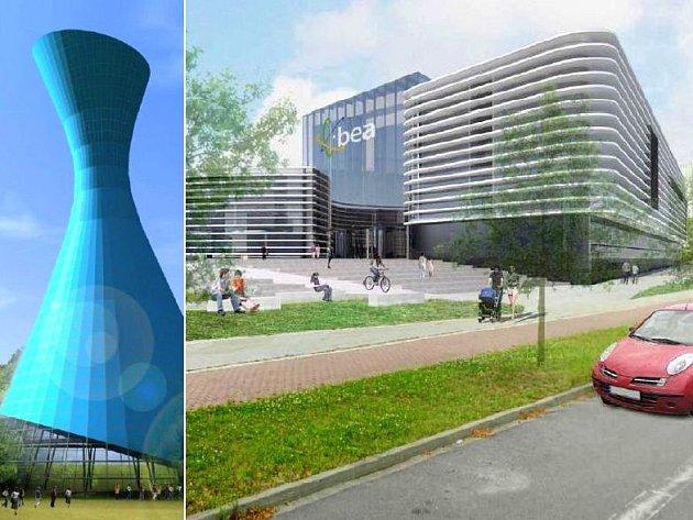 Věž centra Spiritualia a komplex BEA centra u třídy Kosmonautů. Koláž:DENÍK