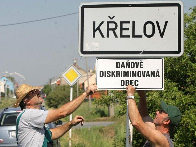 Protestní cedule v Křelově