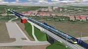 Vizualizace modernizace trati Přerov - Brno. Rousínov