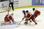 Hokejisté Olomouce (v červeném) prohráli se Zlínem 3:4 po prodloužení
