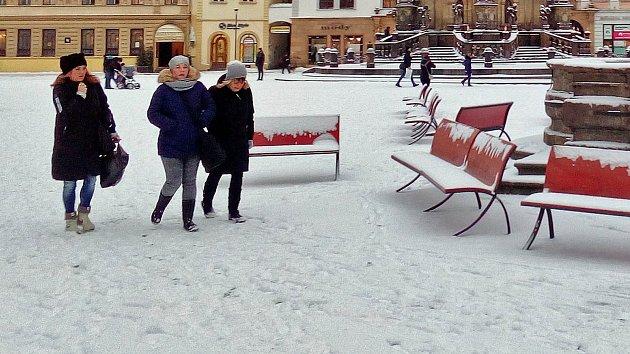 Zasněžené centrum Olomouce 16. ledna 2018