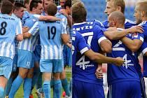 Legendární fotbalové derby je zpět. Kdo se bude radovat? Favorit z Olomouce (vpravo) nebo nováček z Prostějova?