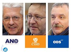 V Olomouckém kraji bude vládnout koalice ANO, ČSSD a ODS. Zleva lídři Oto Košta, Jiří Zemánek a Dalibor Horák