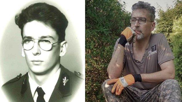Miroslav Žbánek na maturitním portrétu (vlevo) a při práci s motorovou pilou