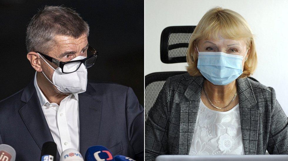 Premiér Andrej Babiš (ANO) a senátorka za Přerovsko Jitka Seitlová (KDU-ČSL)