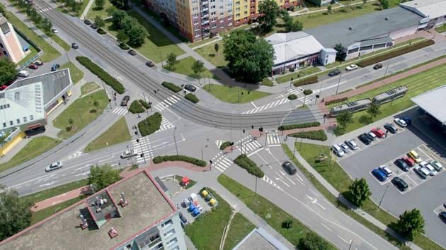 Vizualizace tramvajové trati na Nové Sady a do Slavonína.  Zikova - Schweitzerova ulice