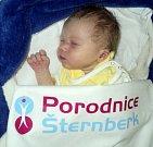 Sebastián Šmíd, Janovice, narozen 8. ledna ve Šternberku, míra 49 cm, váha 3000 g