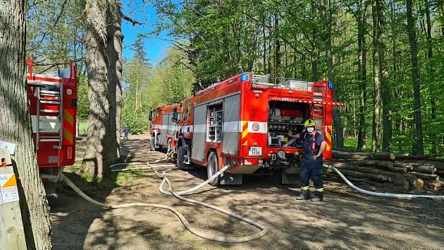 Hasiči zasahují u požáru mýtiny u Šternberka. 11. května 2021