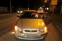 Dopravní nehoda, která se stala ve středu 18. prosince v ulici U Podjezdu v Olomouci