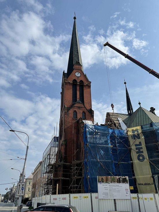 Oprava Červeného kostela v Olomouci, 29. dubna 2021