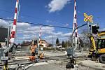 Železniční přejezd v Šumperské ulici v Uničově, 25. dubna 2021