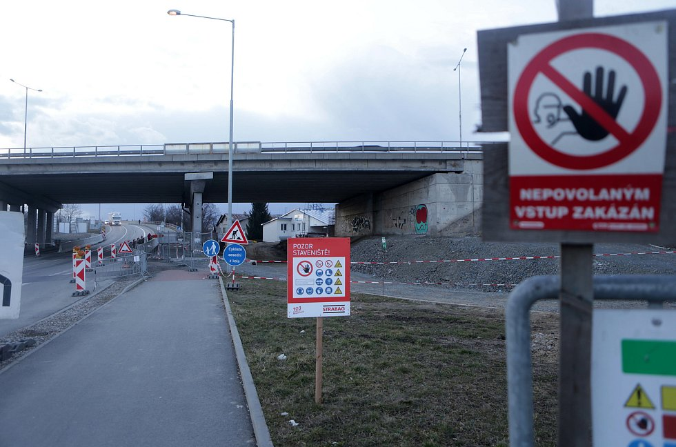 Prostějov - přestavba sjezdů a nájezdů na D46, březen 2021