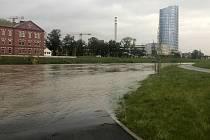 Řeka Morava v Olomouci 16. října 2020 odpoledne