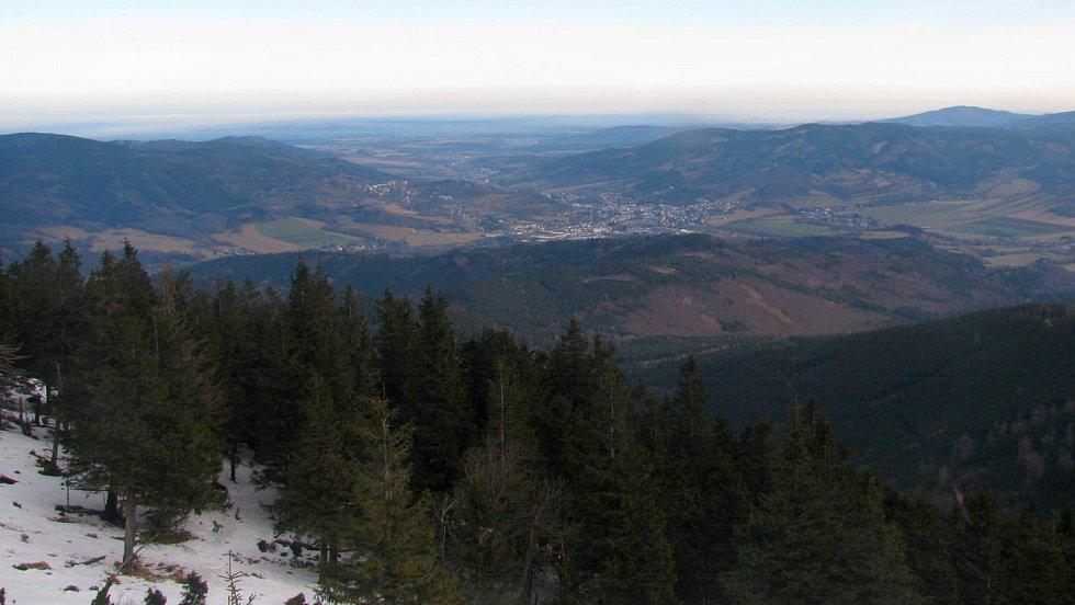 Záběr z webkamery na Šeráku, 17. ledna 2020 dopoledne