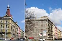 Zchátralý dům v Dobrovského ulici přišel při rekonstrukci o věžičku. Vpravo stav před opravu, vlevo snímek z dubna 2021