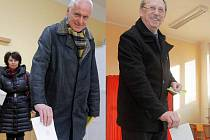 Senátor Jan Hálek a hejtman Martin Tesařík u voleb (koláž)
