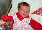 Emily Janesová, Olomouc, narozena 12. září ve Šternberku, míra 48 cm, váha 3240 g