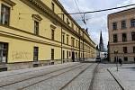 Filmová místa v Olomouci. Pohled z náměstí Republiky na Třídu 1. máje
