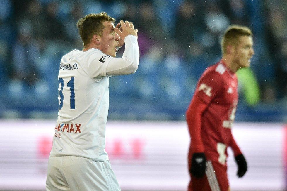 Utkání 19. kola první fotbalové ligy: Baník Ostrava - Sigma Olomouc, 14. prosince 2018 v Ostravě. Na snímku (zleva) Ondřej Šašinka.