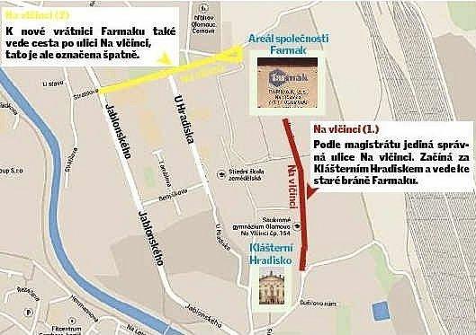 Dvě stejnojmenné ulice vOlomouci Černovíře