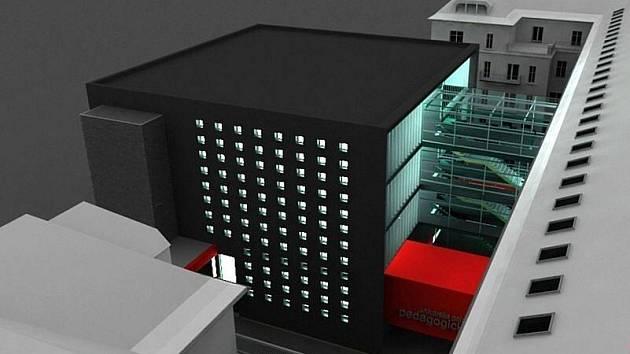 Vizualizace dostavby Pedagogické fakulty UP na Žižkově náměstí