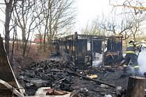 Požár chatky v Křelově