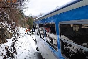 Padlý strom zablokoval cestu vlaku do Sobotína.