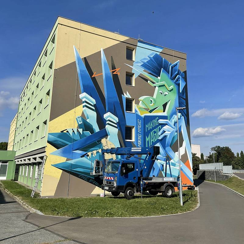 Autor Vidam, VŠ koleje. Street art v Olomouci