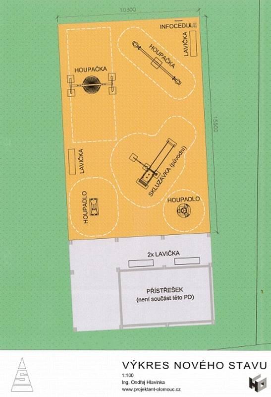 Nákres úpravy hřiště v Droždíně