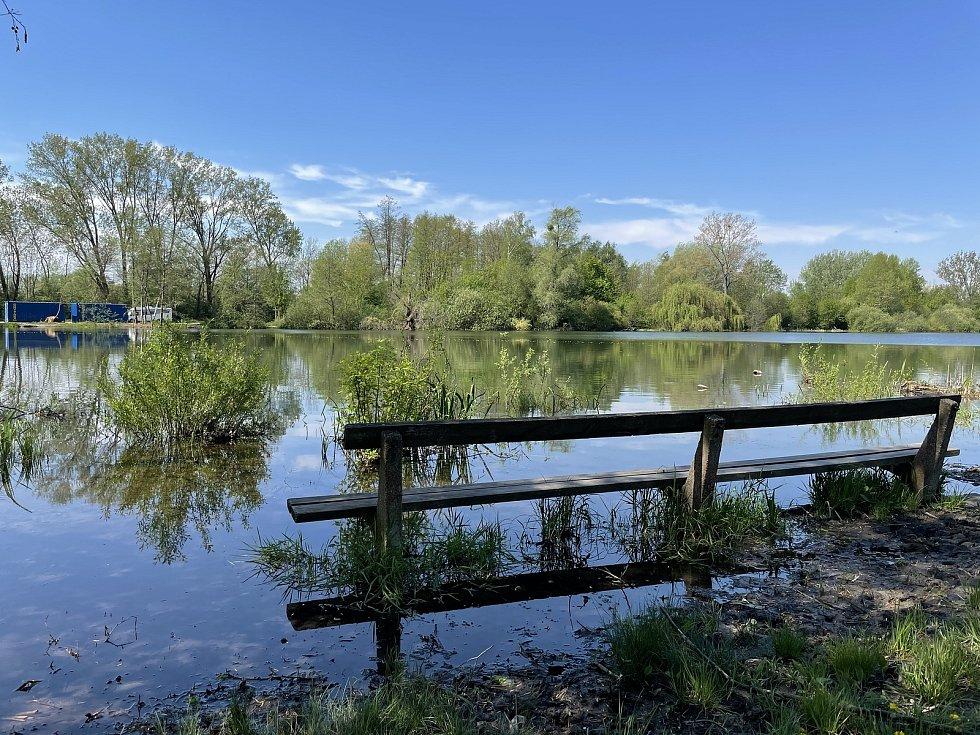 V plánu je rozšíření pláže směrem k zátoce, problém je vysoká hladina vody, Olomoucké Poděbrady, 12. května 2021