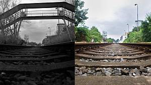 Lávka přes trať nedaleko nádraží Olomouc - město na archivním snímku z února 2018 (vlevo) a místo po její demolici 19. června 2018