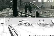 Most na dnešní Masarykově třídě - nahoře 30. léta 20. stol, dole návrh budoucí přestavby