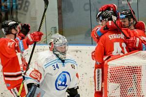 Olomoučtí hokejisté ve třetím zápase předkola play off proti Plzni.