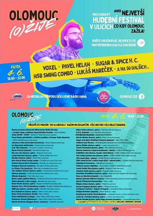 Olomoucké ulice 4. června 2021 ožijí hudebním festivalem Olomouc (o)žije!