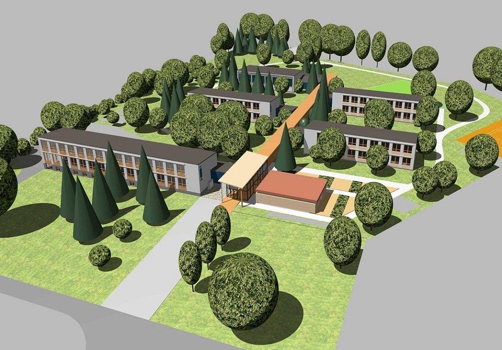 Vizualizace - celkový pohled na areál školy