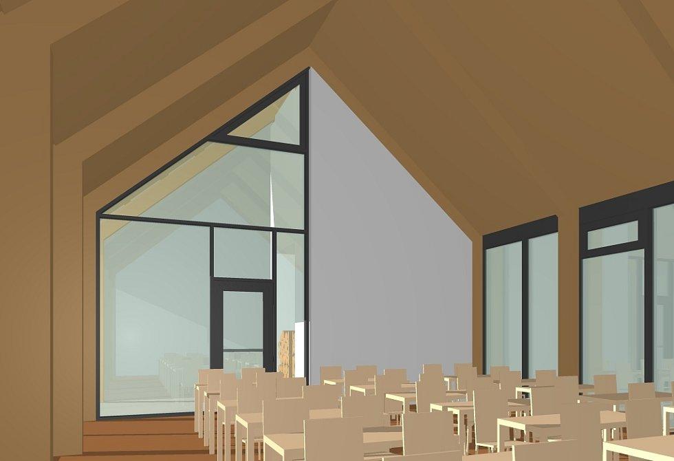 Vizualizace - interiér venkovní učebny