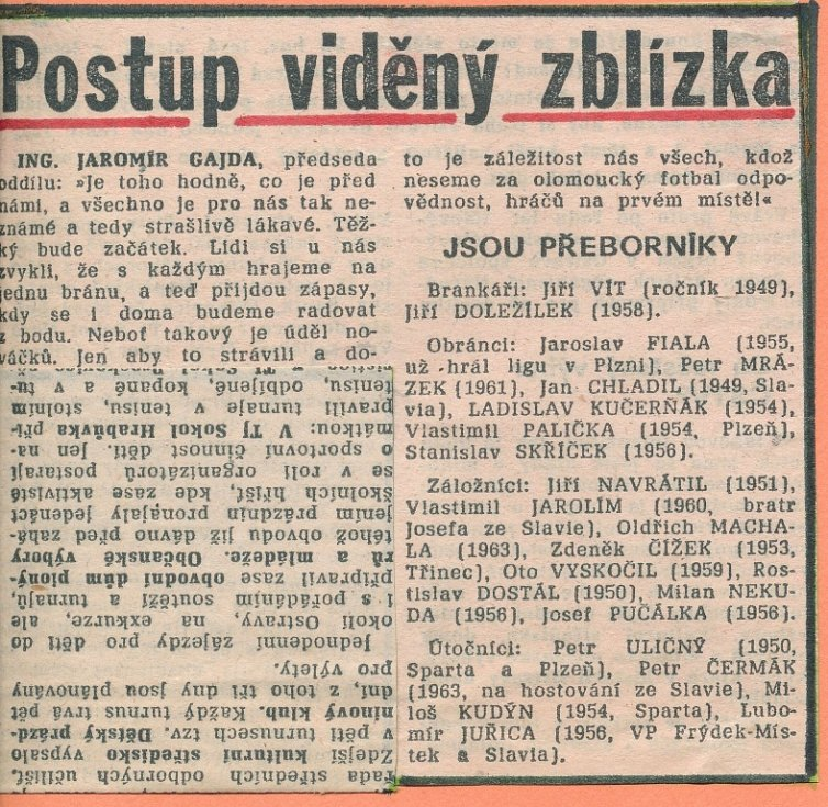 Dobový tisk k postupu olomoucké Sigmy do 1. ligy