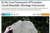 Článek o hledání prostějovských židovských náhrobků v anglicky psaném předním izraelském listu Haaretz