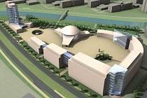 Návrh možné podoby Inovačního centra a vysokoškolského kampusu v prostoru bývalých kasáren 9. května. Zdroj: Moravská vysoká škola
