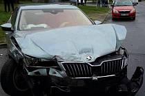 Nehoda dvou osobních aut v Olomouci