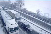 Dálnice D35 u Mohelnice na příjezdu od Olomouce, 8. dubna 8:15