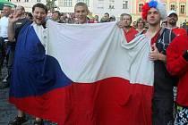 Fandění na Horním náměstí v Olomouci