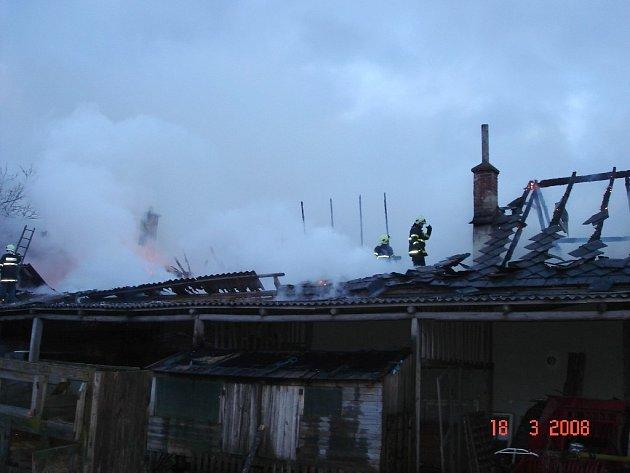 Požár stodoly v Libivé na Mohelnicku.