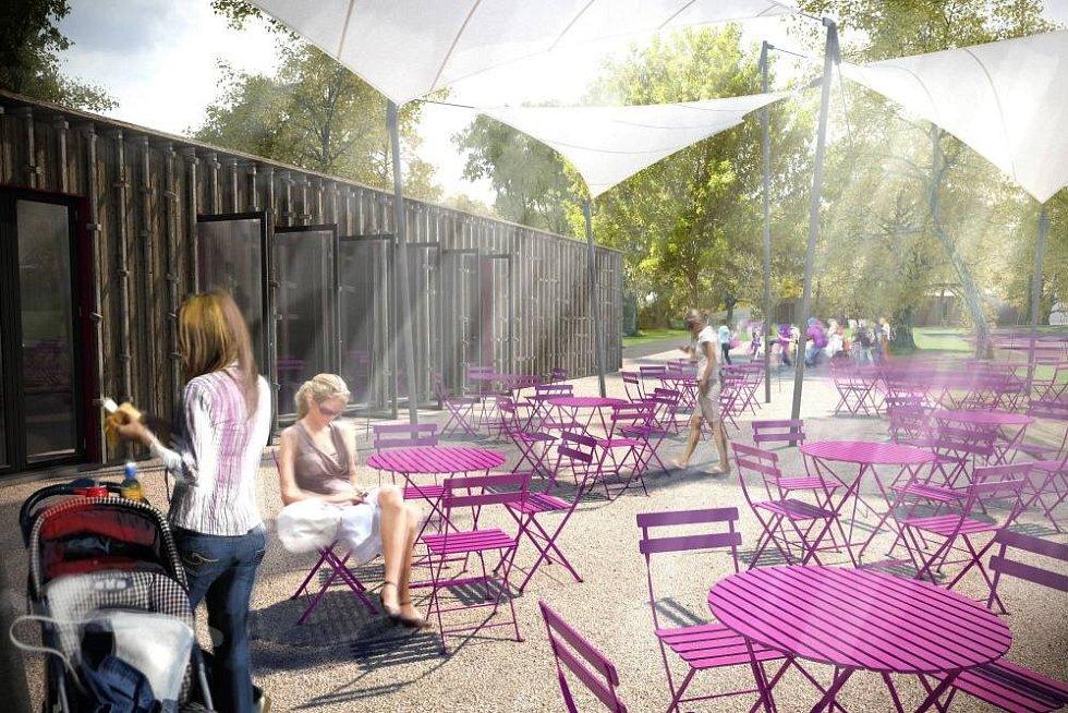 Vizualizace nové podoby olomouckého rozária - kavárna