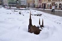 Zasněžené centrum Olomouce v pátek 16. února 2018